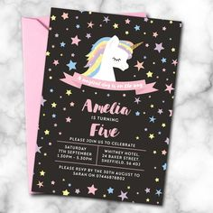 Personalised Unicorn Birthday Invitations A6 *ANY AGE* - Pack of 10