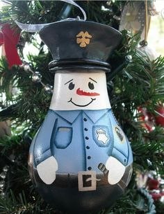 Police office snowman lightbulb ornament