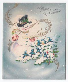 Vintage Greeting Card Christmas Snowman Conducting Bluebird Carols a750