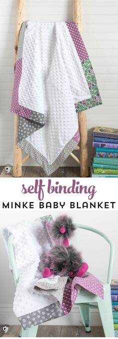 How to sew a self binding baby blanket with minke fabric. An easy baby blanket to sew for a beginner. #sewingpattern #sewingtutorial #minkebabyblanket #babyblankettutorial #selfbindingbabyblanket via @polkadotchair