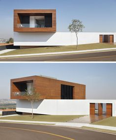 Studio Guilherme Torres designed this house for a young family in Londrina, Brazil. The home has a Cumaru wood clad concrete box that extends out over the long white exterior wall. Architecture Design, Minimalist Architecture, Modern Architecture House, Residential Architecture, Landscape Architecture, Modern House Plans, Modern House Design, Box Houses, Minimalist Home