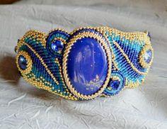 blue beaded cuff bracelet
