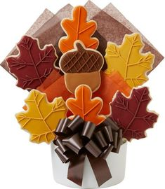 """As summer falls into autumn, this arrangement of sweetly glazed and hand decorated leaves and acorn cutout cookies, represents all the colors of the season. In four delicious sizes,it will """"leaf"""" them with tastebuds satisfied. Summer Cookies, Fall Cookies, Iced Cookies, Holiday Cookies, Cupcake Cookies, Cupcakes, Cookie Favors, Valentine Cookies, Easter Cookies"""