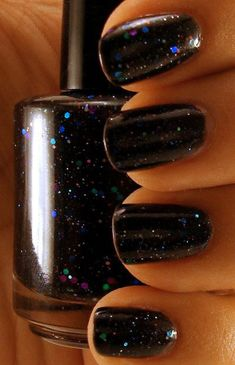 Black Creme Nail Polish with Glitter  by ChaosAndCrocodiles