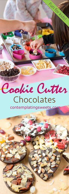 Cookie Cutter Chocolates- These cookie cutter chocolates are a great activity to do with kids! Melted chocolate is poured into cookie cutter molds and topped with all sorts of fun toppings!