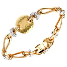 Yellow Gold and Diamond Hammered Bracelet   From a unique collection of vintage more bracelets at http://www.1stdibs.com/jewelry/bracelets/more-bracelets/
