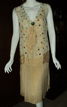 Late 1920s Day Dress Chiffon Pleated Skirt Original Art Deco button Wearable Vintage. $295.00, via Etsy.