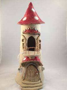 Spotted Redcap Turret with balcony, oneoff, handmade, frost proof fairy house for the garden. by HereNorTherey on Etsy