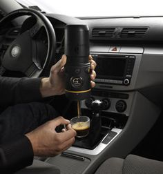 This gadget lets you brew espresso in your car. Now that's coffee on the go!