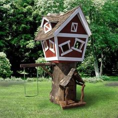 Daniels Wood Land Original Outdoor Wood Tree Playhouse - Fun and whimsical, Daniels Wood Land Original Outdoor Tree House is designed to provide hours of entertainment and makes a fantastic ice breaker. Playhouse Kits, Backyard Playhouse, Build A Playhouse, Wooden Playhouse, Outside Playhouse, Playhouse Furniture, Backyard Toys, Luxury Playhouses, Outdoor Playhouses