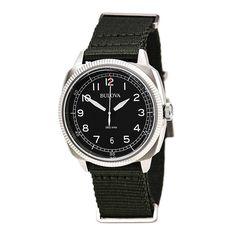 Bulova 96B229 Men's Military UHF Black Dial Green Nylon Strap Watch - Discount Watch Store