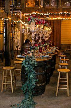 Barrel wedding tables and rustic glam vineyard wedding inspiration Romantic Wedding Receptions, Wedding Themes, Wedding Decorations, Decor Wedding, Wedding Lighting, Hotel Wedding, Wedding Bride, Cat Wedding, Irish Wedding