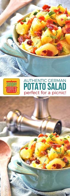 Authentic German Potato Salad is one of our tops picks for Best Picnic Recipes ever! Vinegar dressing on this salad, that is meant to be served warm, means you don't have to worry about keeping it chilled like you would a mayonnaise based potato salad dressing. This potato salad is very easy to make & take when eating outdoors and the reason this recipe is a Picnic Basket Essential! #SundaySupper