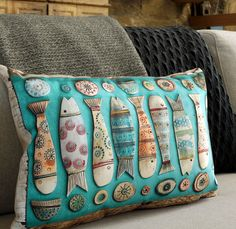 Art Cushion Fishes i by ShirleyVauvelle on Etsy