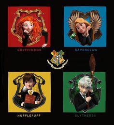 The Big Four Go To Hogwarts ( ̄▼ ̄) I love high school theme, so youthful and fun! Disney Pixar, Disney And Dreamworks, Disney Art, Disney Hogwarts, Harry Potter Disney, Disney Dream, Cute Disney, Princesa Merida Disney, Princess Merida