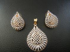 White Pendant and Earring Set | eBay