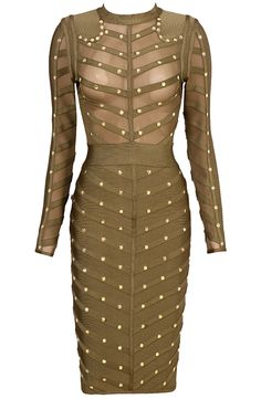Dream it Wear it - Long Sleeve Studded Mesh Midi Bandage Dress Green, $128.76 (http://www.dreamitwearit.com/bandage-dresses/long-sleeve-studded-mesh-midi-bandage-dress-green/)