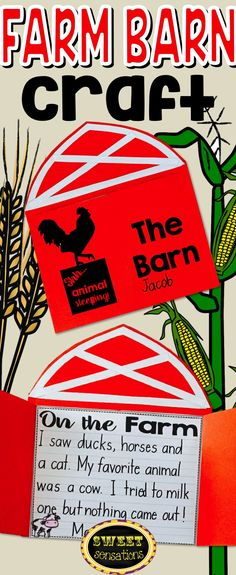 Barn craft activity to enhance units on farms, animals, fall, and field trips! Travel Activities, Craft Activities, Barn Crafts, Kindergarten Science, Preschool, Farm Animal Crafts, Spring Bulletin Boards, Farm Unit, Travel Crafts