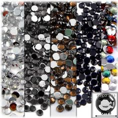 5-Pack Set (5X -144-Piece), Round 6mm Rhinestones, Gray Tones