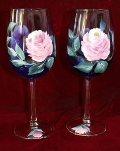 Hand Painted Wine Glasses - Vintage Rose