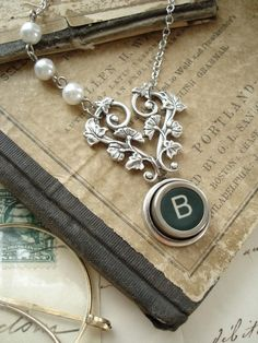 Typewriter Key Jewelry - Green Letter B Vintage Typewriter Key Necklace. Antique Silver Heart and White Pearls. Upcycled Garden Jewelry.. 54.50, via Etsy.