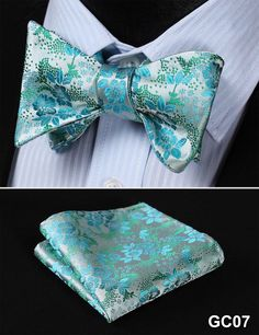 GC07 SILVER, BLUEFloral 100% Silk Butterfly Tie Self Tie Bow Tie Pocket Square Bow tie Set
