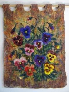 Pansies felted picture wall hanging by fuzzystaff on Etsy