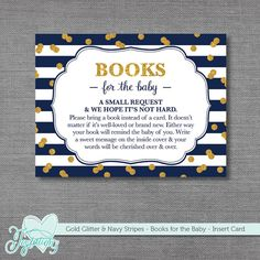 INSTANT DOWNLOAD! Printable Gold Glitter and Navy Stripes - Books for the Baby Insert Card by Joytations on ETSY. Print at home or at a local print shop!