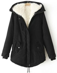 Black Hooded Long Sleeve Drawstring Parka pictures