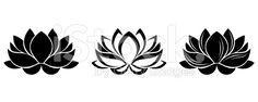 Silhouette di fiori di loto. Set di tre illustrazioni vettoriali. arte vettoriale stock royalty-free