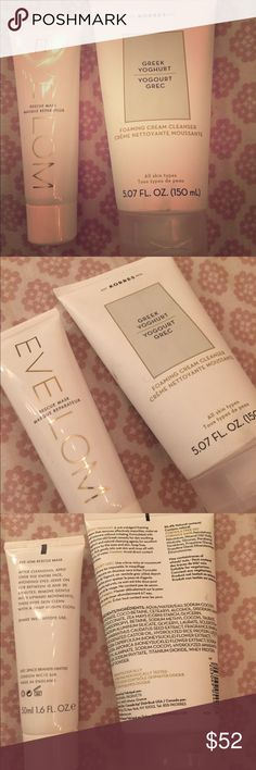 Korres Facial Cleanser + Eve Lom Face Mask Both products new, never used: KORRES Greek Yoghurt foaming cream cleanser, 5.07 fl oz / 150 mL, all skin types. Retail: $26.00. EVE LOM rescue mask, from the U.K., 1.6 fl oz / 50mL. Retail: $50.00. (Prefer to sell together, though can sell separately if need be). Eve Lom Makeup