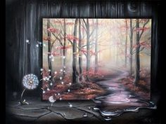 How to paint a surreal misty forest landscape with a dandelion in acrylic and airbrushing by Lachri - YouTube