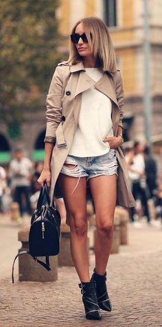 camel coat + white top + ripped jean shorts + booties / street style