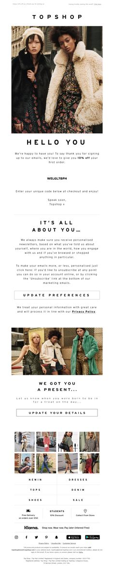 Welcome email from Topshop #EmailMarketing #Email #Marketing #Fashion #Welcome Welcome Emails, Shoe Sale, Email Marketing, Womens Fashion, Fashion Trends, Topshop, Women's Fashion, Feminine Fashion, Fashion Women