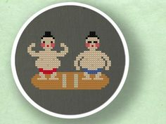 Sumo Wrestlers. Cross Stitch PDF Pattern by andwabisabi on Etsy