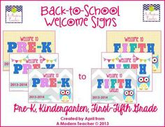 Back to School Printable Sign FREE Prek-5th LOVE these! Used them last year and she has updated with the 2013-14 school year.