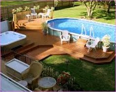 Image result for deck around above ground pool