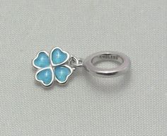 New & Authentic Endless Light Bluel Enamel Clover Sterling Silver Drop Charm  #Endless now available at Keswick Jewelers in Arlington Heights, IL 60005 P: 847.394.9365