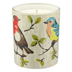 Garden Birds Lemongrass and Ginger Soy Wax Glass Candle
