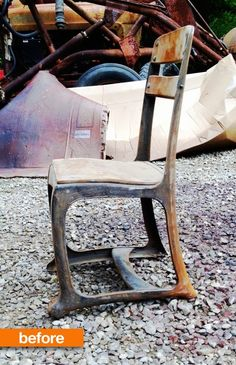 Before & After:  Upcycled Vintage  School Chair