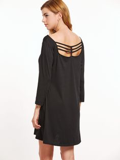 Black Cut Out Back Pockets Tee Dress - Party dresses outlet
