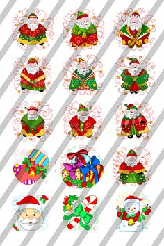 Santa & More Printable Bottle Cap Images Collage Shee