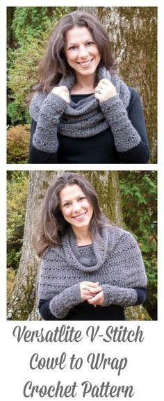 Versatile V-Stitch Cowl to Wrap Crochet Pattern | www.petalstopicots.com | #crochet #pattern #cowl #wrap