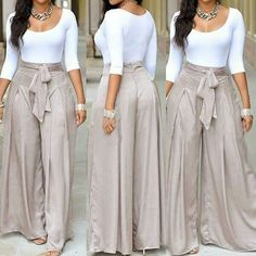 Scoop Neck White Top and Grey Loose Pants Look Fashion, Autumn Fashion, Womens Fashion, Fashion Styles, Casual Wear, Casual Outfits, Two Piece Pants Set, Vetement Fashion, Dresscode