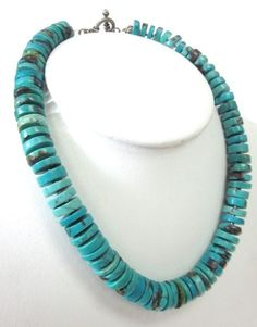 NEW TRY NA Turquoise Disc Sterling Silver Strand Necklace at www.ShopLindasStuff.com