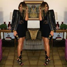 "@thassianaves's photo: ""Night out! #ootd #allblack #lookofthenight | Dress #fabulous @agilitabrasil jacket @balmainparis sandália @schutzoficial ❤️"""