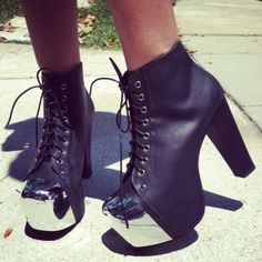 black and white boots by Jeffrey Campbell - Woman Shoes - Best Collection Crazy Shoes, New Shoes, Me Too Shoes, Funky Shoes, Heeled Boots, Bootie Boots, Shoe Boots, Ankle Boots, Shoes Heels