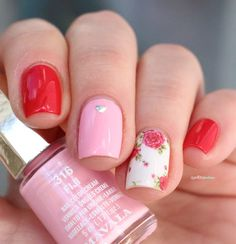 Mavala First class color's // Bonne fete maman ! - mother's day pink and red roses nail art