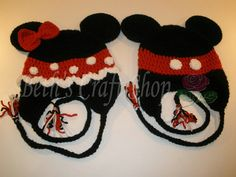 Disney Minnie & Mickey Mouse Shorts-Skirt Earflap Hat - Crochet Hat - MADE TO ORDER. $38.00, via Etsy.