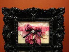 *** FREE SHIPPING *** One of a kind *** Hot Pink Black Zebra Rhinestone Skull Embellished Garter ... $29.99